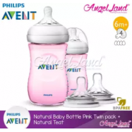 image of [Best Buy For 2x] Philips Avent Natural Bottle 9oz / 260ml Twin Pack (Pink) - SCF694/23 + Philips Avent Natural Teat - Pink 260ml & SCF654/23