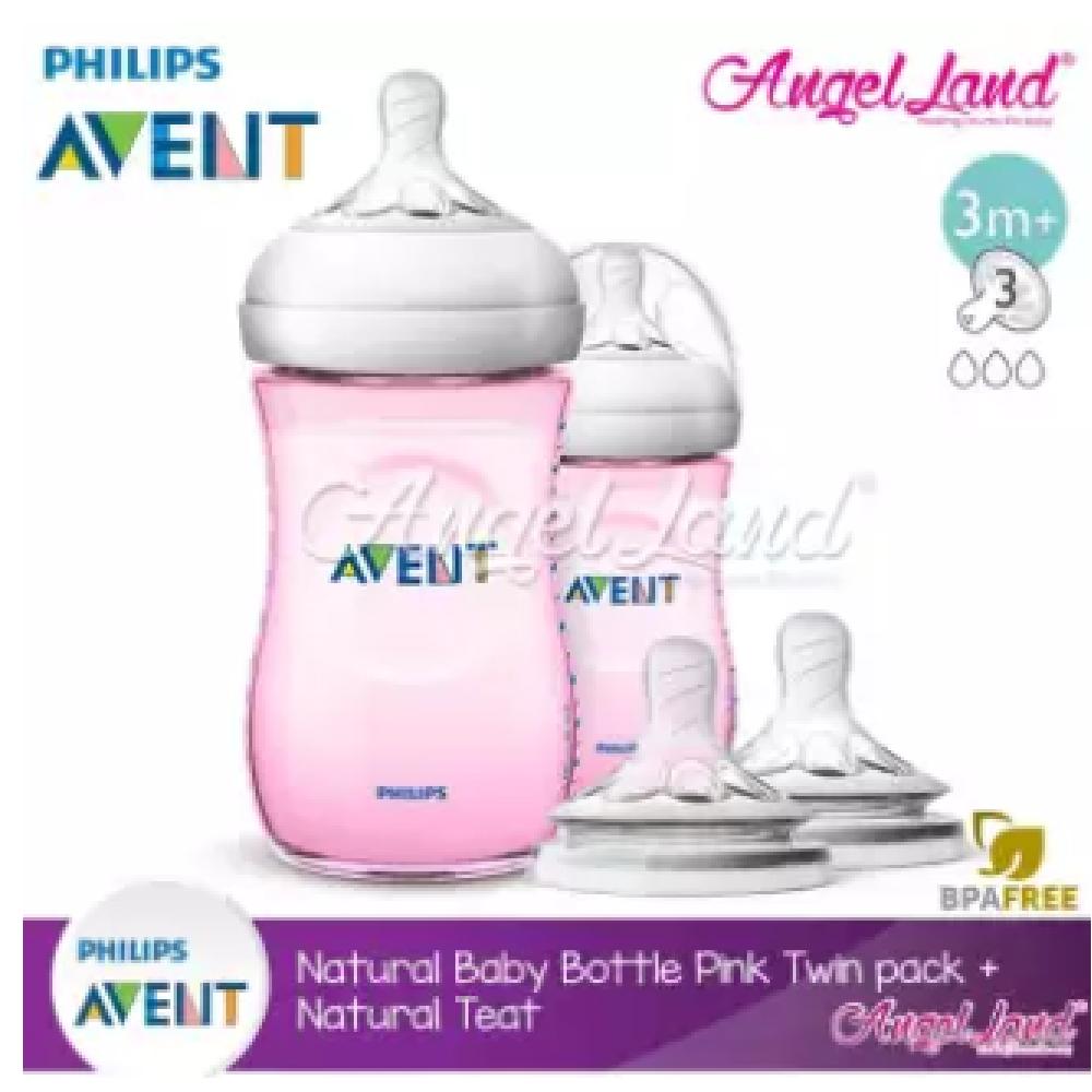[Best Buy For 2x] Philips Avent Natural Bottle 9oz / 260ml Twin Pack (Pink) - SCF694/23 + Philips Avent Natural Teat - Pink 260ml & SCF653/23