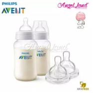 image of Philips Avent Classic Plus Anti Colic 330ml/11oz (3m+) Twin Pack SCF566/27 + Philips Avent Classic+ Teat -Bottle 330ml & Teat SCF635/27