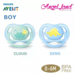 Philips Avent Berry Soother (Twin Pack) - Cloud/Dino 0-6m - SCF344/20
