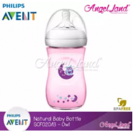 image of Philips Avent Natural Bottle Decorated Bottle 9OZ/260ML (Single Pack) - Pink Owl - SCF021/13