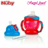 image of Nuby No-Spill Grip n´ Sip Combo 8oz/240ml Red -10020