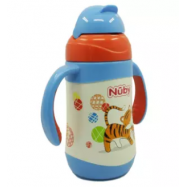 image of Nuby SS Click-It Flip-It Twin Handle 280ml - (Tiger) 10223