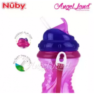 image of Nuby Flip-it Thin Silicone Straw Cup with Carrying Strap 420ml (18m+) NB10149
