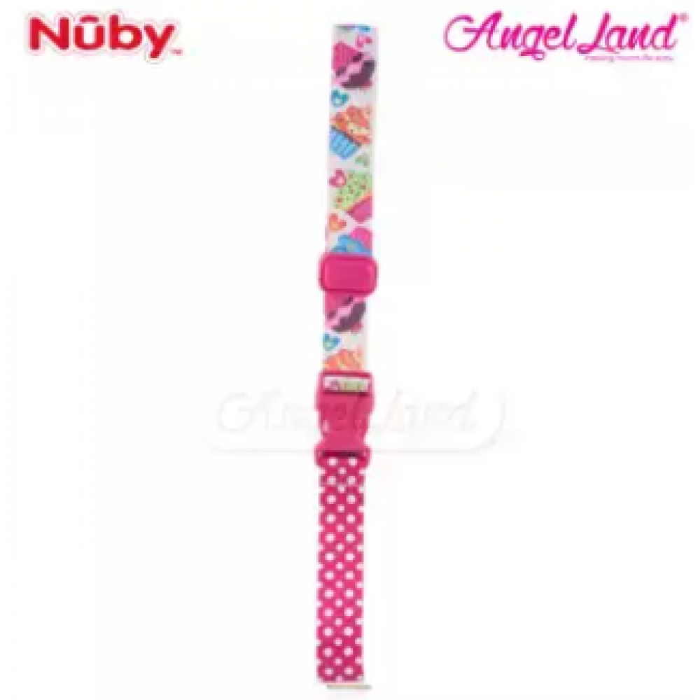 Nuby Keepeez Adjustable BottleCup Strap -  Pink Cup Cake 10374PCC