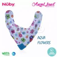 image of Nuby Teething Bib - NB4290 Aqua Flowers
