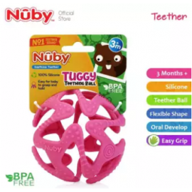 image of Nuby Tuggy Teething Ball (3m+) NB6869 -Pink