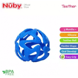 image of Nuby Tuggy Teething Ball (3m+) NB6869 -Blue