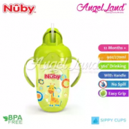 image of Nuby Comfort Printed Cup With Handles & Weighted Straw (9oz/270ml) NB52002 -Green Giraffe