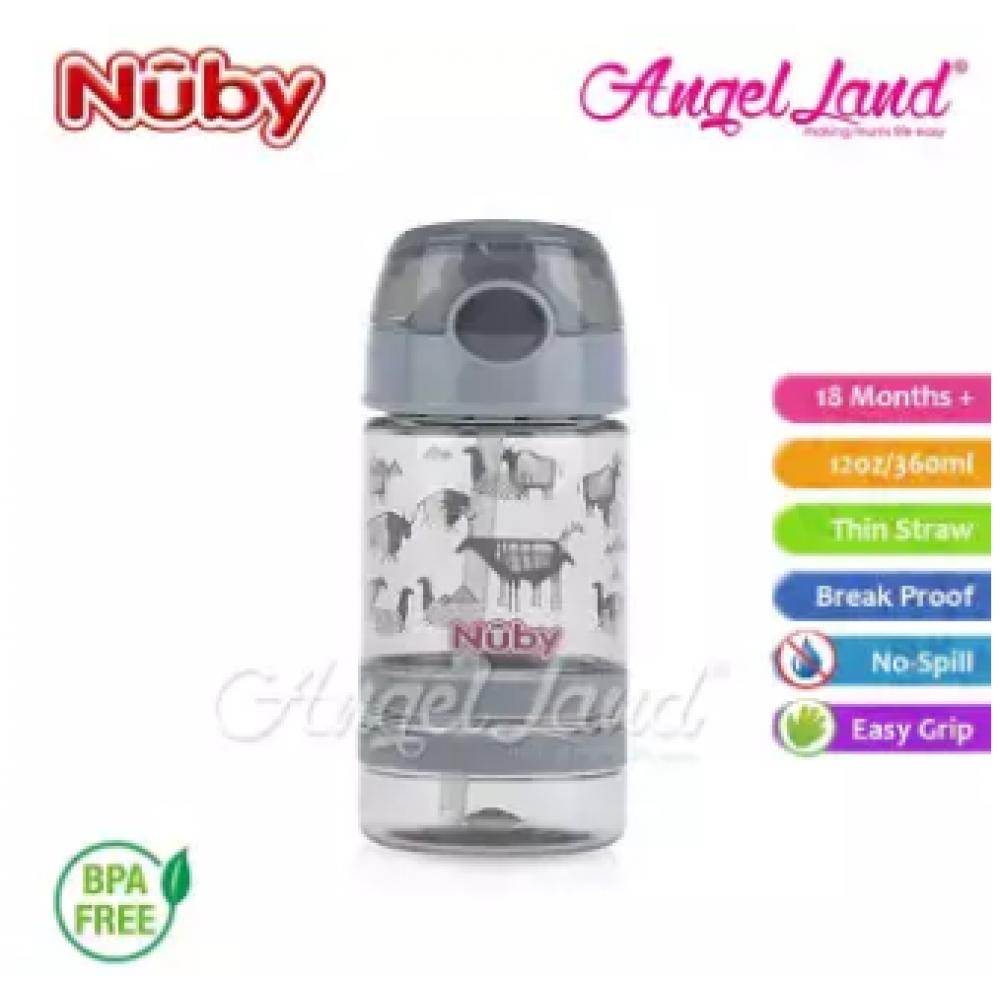 Nuby Flip-it Active (Tritan) Thin Straw Sport Bottle 12oz/360ml (18m+) NB1289 - Grey Animals