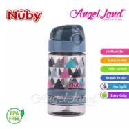 image of Nuby Flip-it Active (Tritan) Thin Straw Sport Bottle 12oz/360ml (18m+) NB1289 - Grey Triangles