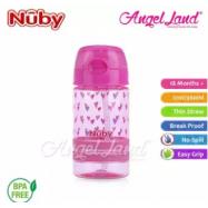 image of Nuby Flip-it Active (Tritan) Thin Straw Sport Bottle 12oz/360ml (18m+) NB1289 - Pink Hearts