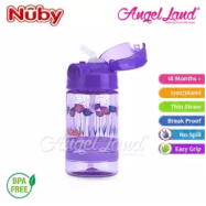 image of Nuby Flip-it Active (Tritan) Thin Straw Sport Bottle 12oz/360ml (18m+) NB1289 - Purple Flowers