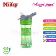 image of Nuby Flip-it Reflex Tritan Sports Bottle Silicone Band 12oz/360ml (18m+) NB1297 -Green Circle Drop