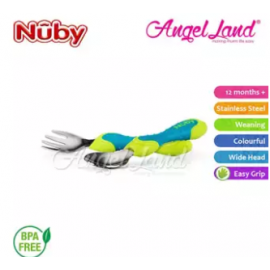 image of Nuby Stainless Steel Cutlery Set Spoon & Fork with Grip Handle (12m+) NB5440