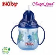 image of Nuby Designer 2 handle Trainer Cup with Weighted Straw 8oz/240ml (12m+) NB10324 - Blue