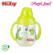 image of Nuby Designer 2 handle Trainer Cup with Weighted Straw 8oz/240ml (12m+) NB10324 - Green