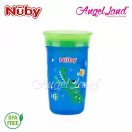 image of Nuby 360 Wonder Cup 10oz/300ml (12m+) NB10411 - Blue Alligator