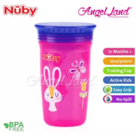 image of Nuby 360 Wonder Cup 10oz/300ml (12m+) NB10411 - Pink Bunny