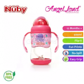 image of Nuby Tritan FlipIt with 3D Vinyl Wrap with Weighted Straw 400ml (12m+) NB10457
