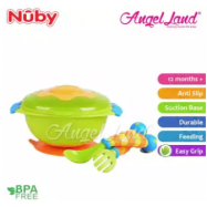 image of Nuby Wacky Ware Combo Set PP Suction Bowl & Fork+Spoon with Handle (12m+) NB5321 - Green