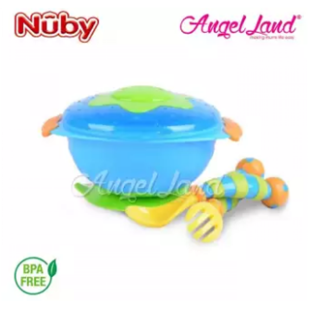 Nuby Wacky Ware Combo Set PP Suction Bowl & Fork+Spoon with Handle (12m+) NB5321 - Blue