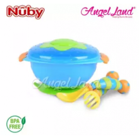 image of Nuby Wacky Ware Combo Set PP Suction Bowl & Fork+Spoon with Handle (12m+) NB5321 - Blue