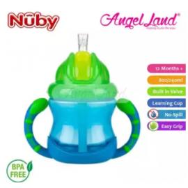 image of Nuby Flip N'Sip Cup Fat Straw 240ml (12 months+) NB92166 - Blue/Green