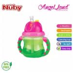 Nuby Flip N'Sip Cup Fat Straw 240ml (12 months+) NB92166 - Green/Pink