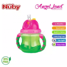 image of Nuby Flip N'Sip Cup Fat Straw 240ml (12 months+) NB92166 - Green/Pink