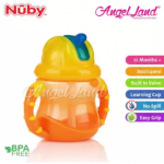 Nuby Flip N'Sip Cup Fat Straw 240ml (12 months+) NB92166 - Orange/Yellow