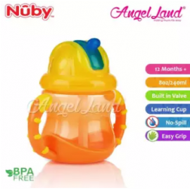 image of Nuby Flip N'Sip Cup Fat Straw 240ml (12 months+) NB92166 - Orange/Yellow