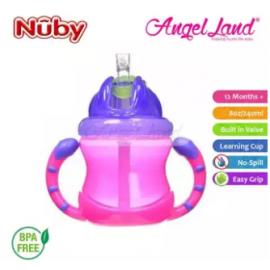 image of Nuby Flip N'Sip Cup Fat Straw 240ml (12 months+) NB92166 - Pink/Purple