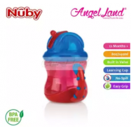 image of Nuby Flip N'Sip Cup Fat Straw 240ml (12 months+) NB92166 - Red/Blue