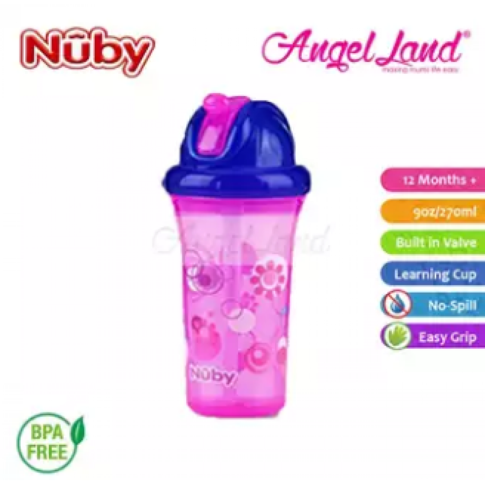 Nuby Flip-it Cup Clear Printed Cup with Fat Straw 270ml (12m+) NB10154 - Pink Flowers