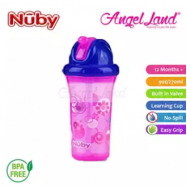 image of Nuby Flip-it Cup Clear Printed Cup with Fat Straw 270ml (12m+) NB10154 - Pink Flowers