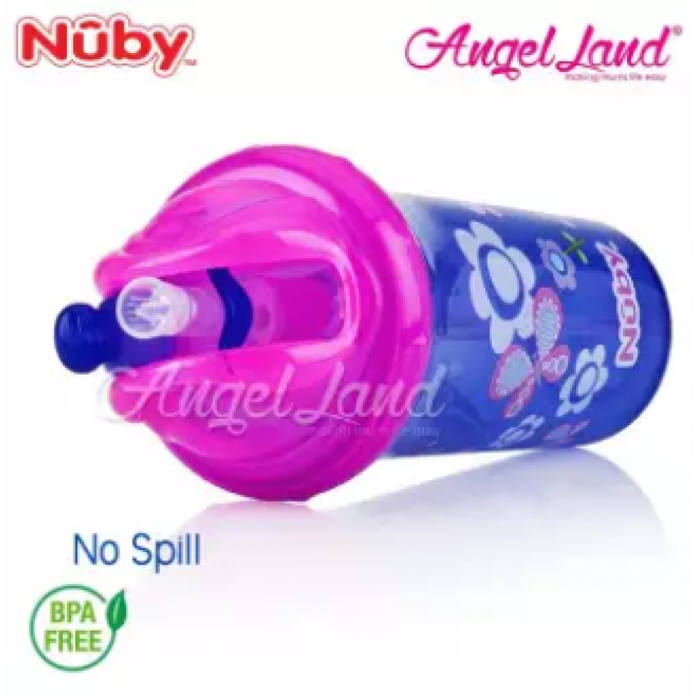 Nuby Flip-it Cup Clear Printed Cup with Fat Straw 270ml (12m+) NB10154 - Purple Butterflies