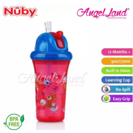 image of Nuby Flip-it Cup Clear Printed Cup with Fat Straw 270ml (12m+) NB10154 - Red Monkeys