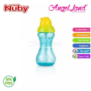 image of Nuby Click-it Flip-it Cup Fat Straw 12oz/360ml (12 months+) NB10112 - Blue/Yellow