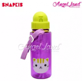 image of Snapkis Straw Water Bottle 500ml - Cat - SKS11047