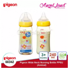 image of Pigeon Nursing Bottle PPSU Wide Neck 240ml (M size, 3month+) - Animal 00342