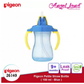 image of Pigeon Petite Straw Bottle, 150ml (Blue) 26149