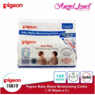 image of Pigeon Baby Wipes Moisturizing Cloths, 70's (2packs) 10819