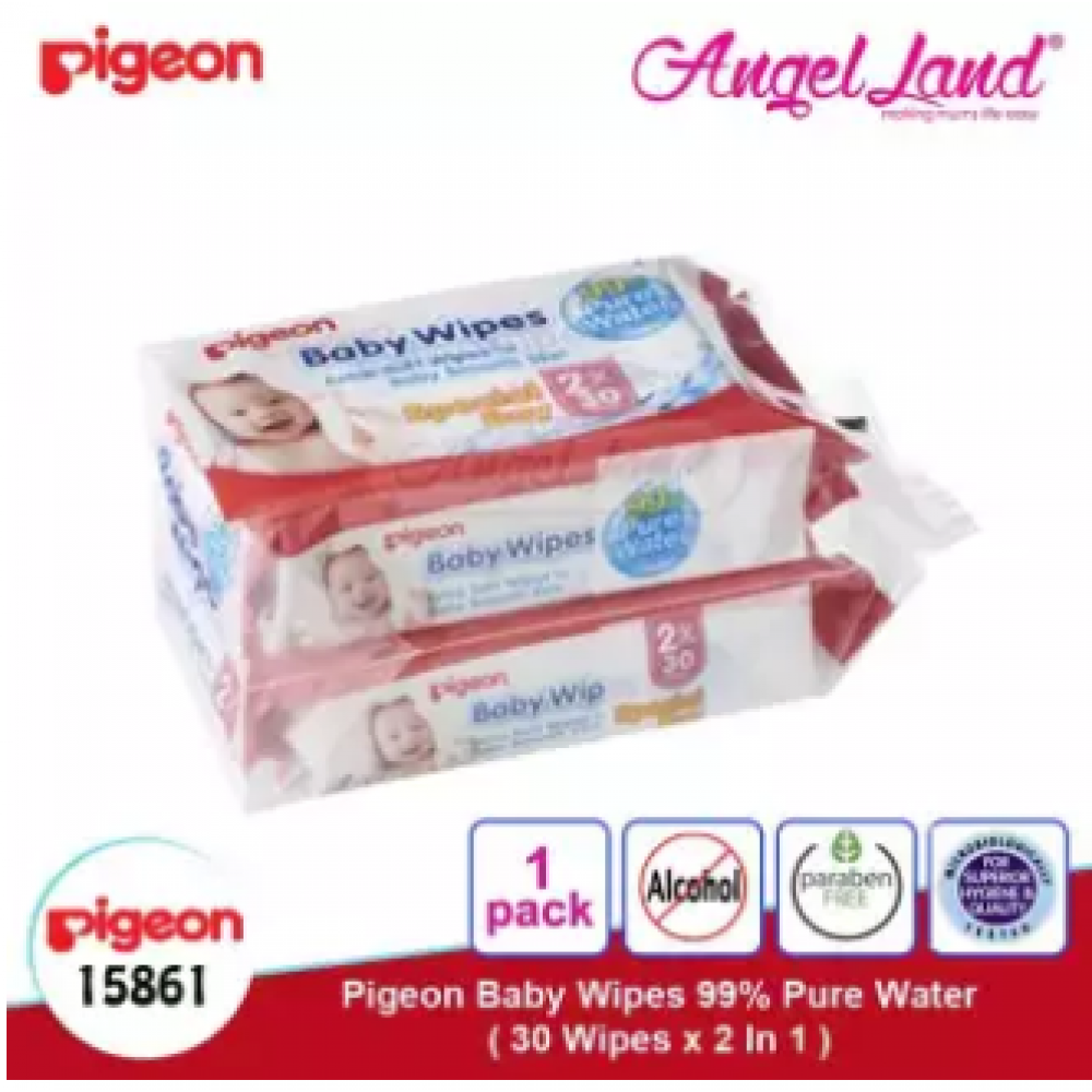 Pigeon Baby Wipes 99% Pure Water, 30's (2 in 1) 15861