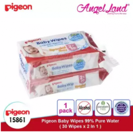 image of Pigeon Baby Wipes 99% Pure Water, 30's (2 in 1) 15861