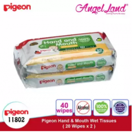 image of Pigeon Hand & Mouth Wet Tissues 20s (2 Packs) - 11802