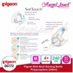Pigeon Slim-Neck Nursing Bottle Polypropylene 120ml(00773) / 240ml(00772) - 240ml (00772) M teat, 3m+