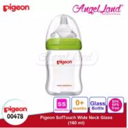 image of Pigeon Wide-Neck Nursing Bottle Glass 160ml(00478)/240ml(00479) - 160ml(00478) SS teat, 0m+