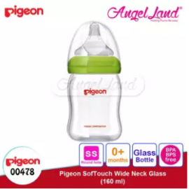 image of Pigeon Wide-Neck Nursing Bottle Glass 160ml(00478)/240ml(00479) - 160ml(00478) SS teat, 0m+