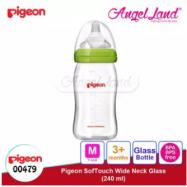 image of Pigeon Wide-Neck Nursing Bottle Glass 160ml(00478)/240ml(00479) - 240ml(00479) M teat, 3m+